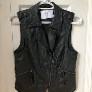 Black Leather Sleeveless Jacket